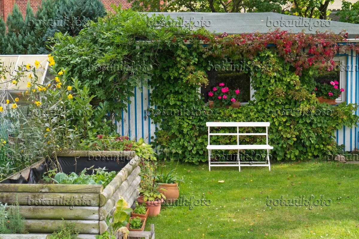 Bild Gartenlaube Mit Sitzbank Und Hochbeet 536208 Bilder Und