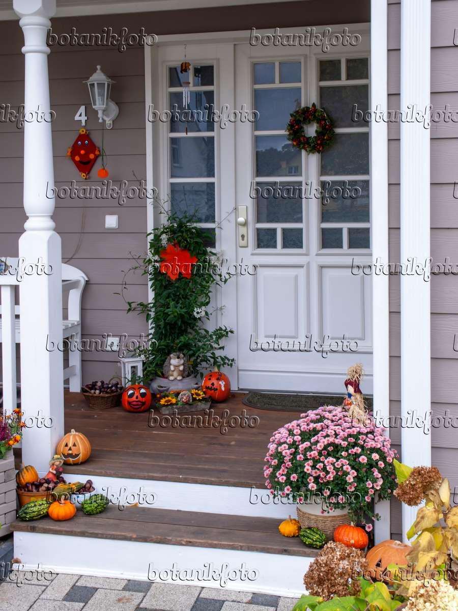 bild hauseingang mit herbstlicher dekoration 477139. Black Bedroom Furniture Sets. Home Design Ideas