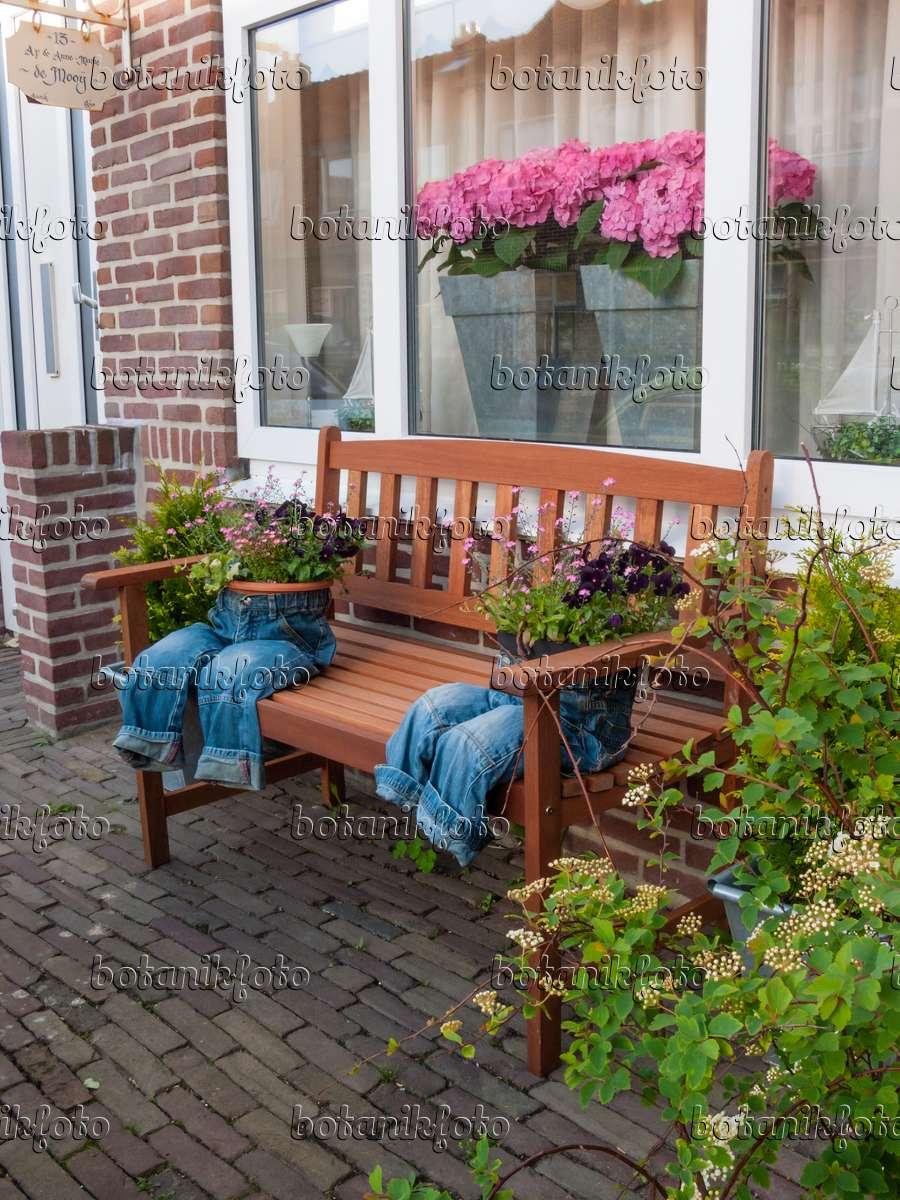 bild vorgarten mit hortensien und dekorierten blument pfen 401008 bilder und videos von. Black Bedroom Furniture Sets. Home Design Ideas
